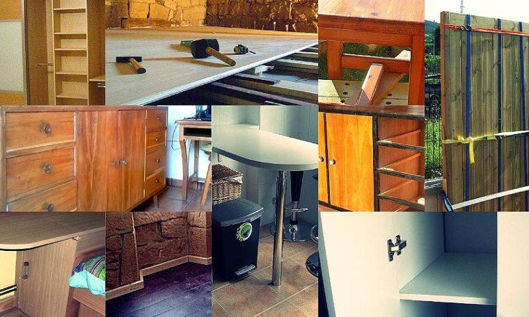 collage fotográfico, miscelanea de trabajos en madera