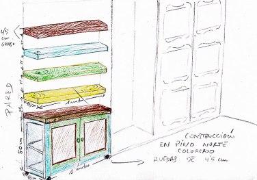 Boceto sobre papel de un mueble, dibujado y coloreado a mano